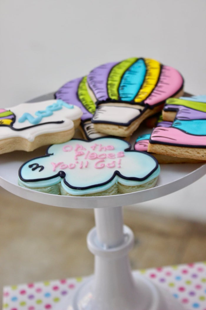 "Dr. Seuss Cookies from a Dr. Seuss ""Oh the places You'll Go"" Party on Kara's Party Ideas 