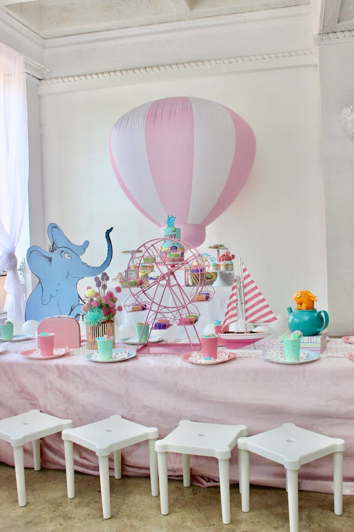 "Dr. Seuss-inspired Guest Table from a Dr. Seuss ""Oh the places You'll Go"" Party on Kara's Party Ideas 