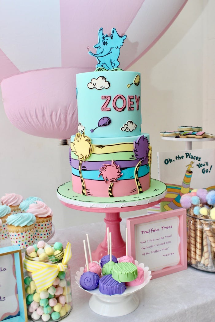 """Oh the Places You'll Go Dr. Seuss Cake from a Dr. Seuss ""Oh the places You'll Go"" Party on Kara's Party Ideas 