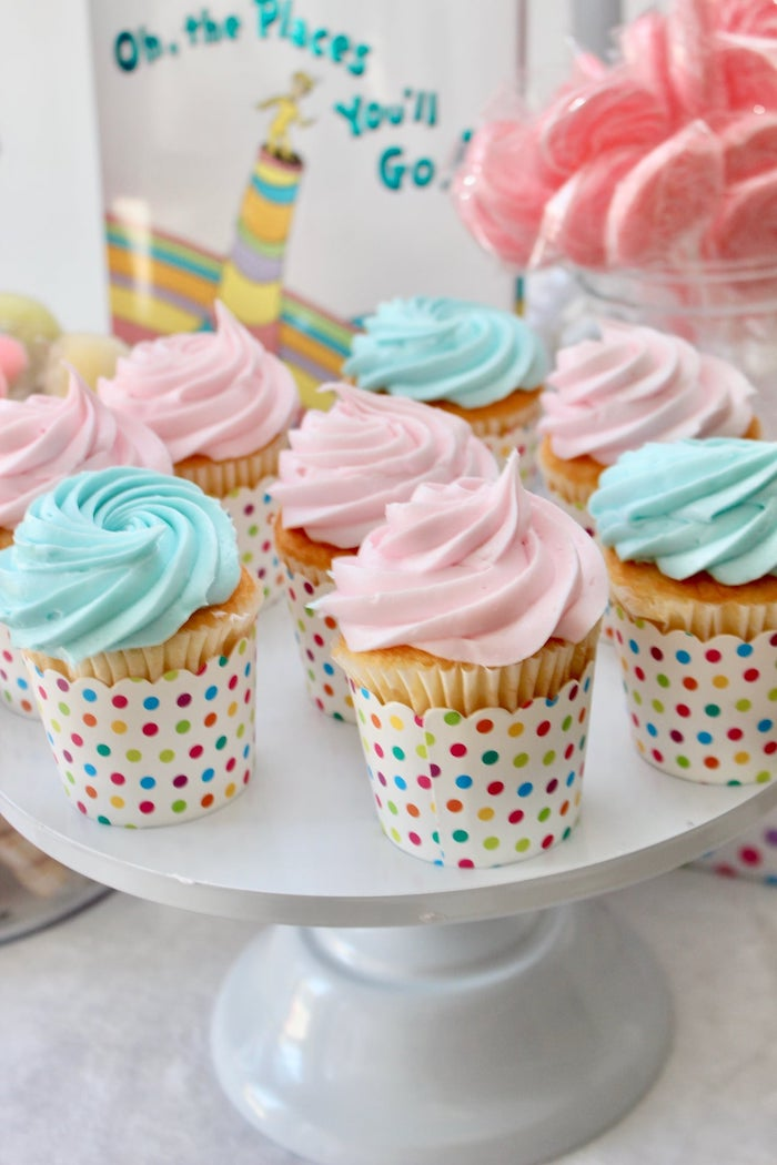 "Pastel Pink + Blue Cupcakes from a Dr. Seuss ""Oh the places You'll Go"" Party on Kara's Party Ideas 