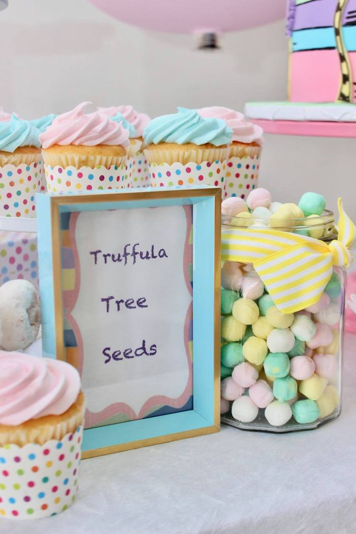 "Truffula Tree Seeds from a Dr. Seuss ""Oh the places You'll Go"" Party on Kara's Party Ideas 