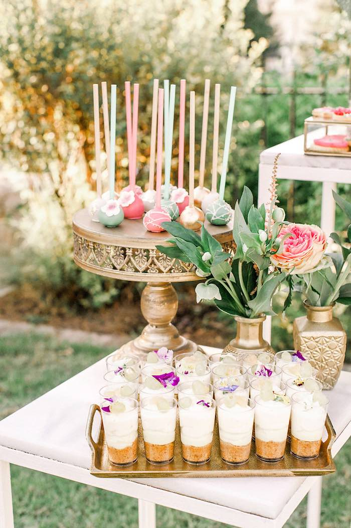 Mini Floral-inspired Dessert Table from an Elegant Floral Baptism Party on Kara's Party Ideas | KarasPartyIdeas.com (27)