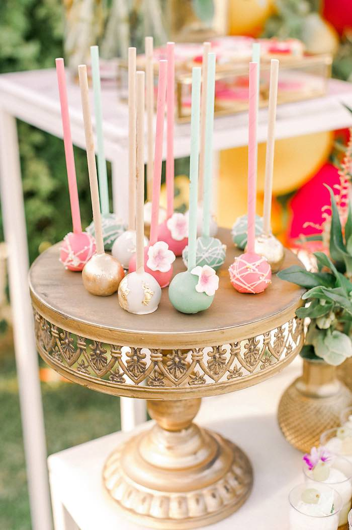 Flower-adorned Cake Pops from an Elegant Floral Baptism Party on Kara's Party Ideas | KarasPartyIdeas.com (26)