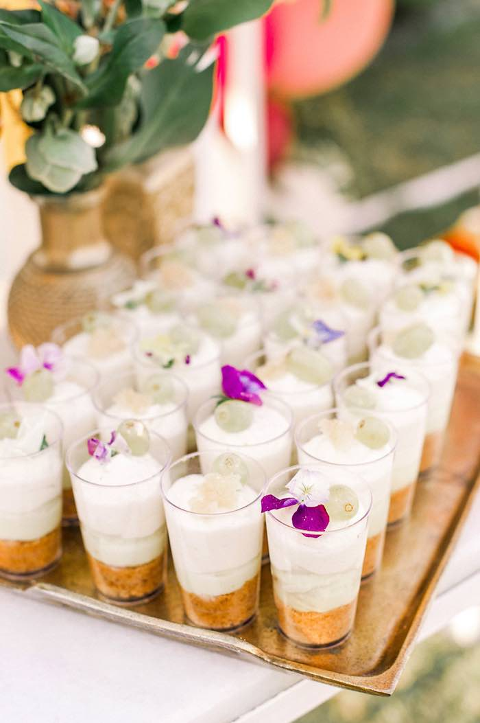 Flower-topped Dessert Shooters from an Elegant Floral Baptism Party on Kara's Party Ideas | KarasPartyIdeas.com (25)