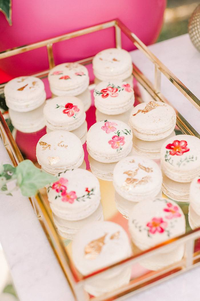 Floral Macarons from an Elegant Floral Baptism Party on Kara's Party Ideas | KarasPartyIdeas.com (24)