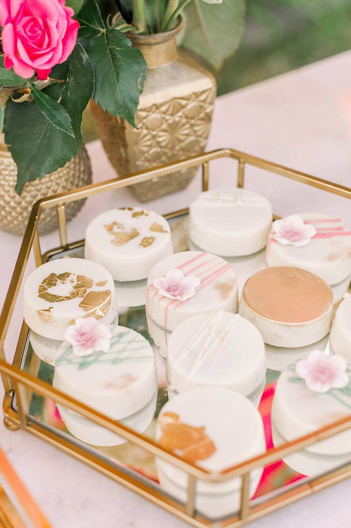 Floral Themed Covered Oreos from an Elegant Floral Baptism Party on Kara's Party Ideas | KarasPartyIdeas.com (23)