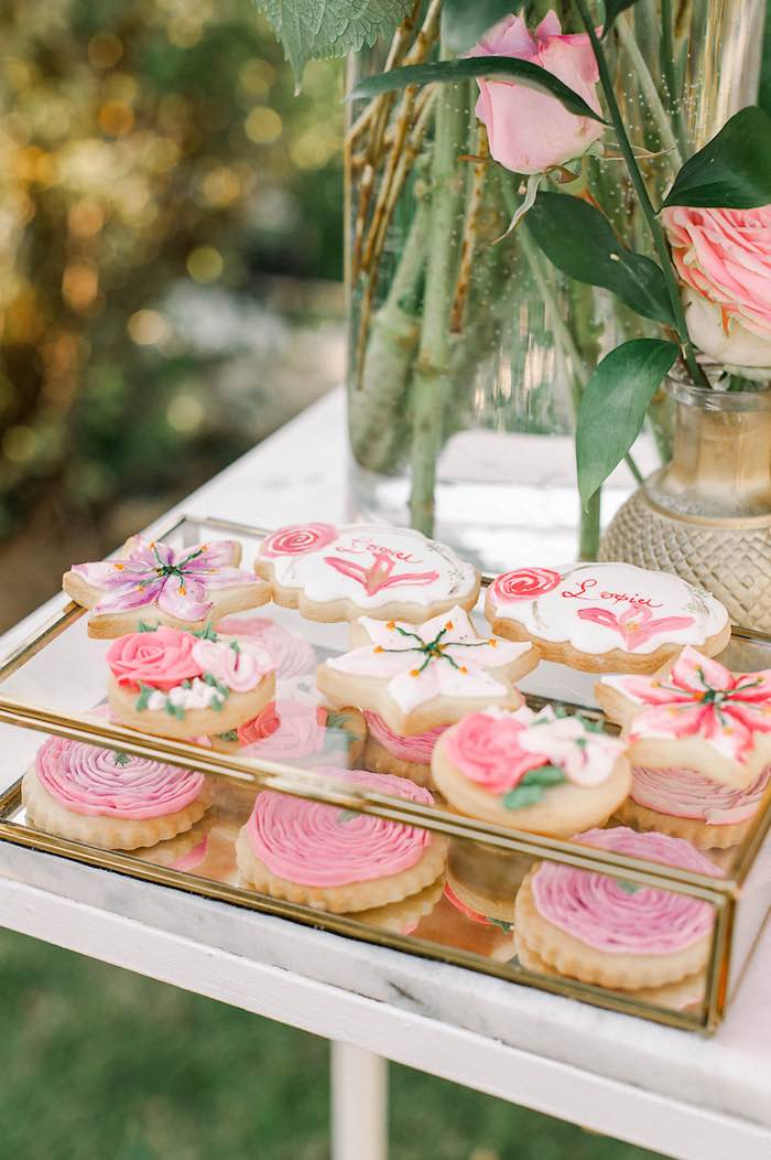 Floral Themed Sugar Cookies from an Elegant Floral Baptism Party on Kara's Party Ideas | KarasPartyIdeas.com (22)