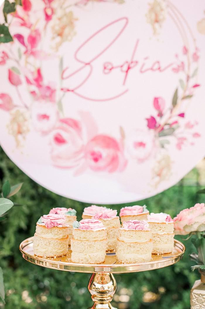 Mini Cakes from an Elegant Floral Baptism Party on Kara's Party Ideas | KarasPartyIdeas.com (21)