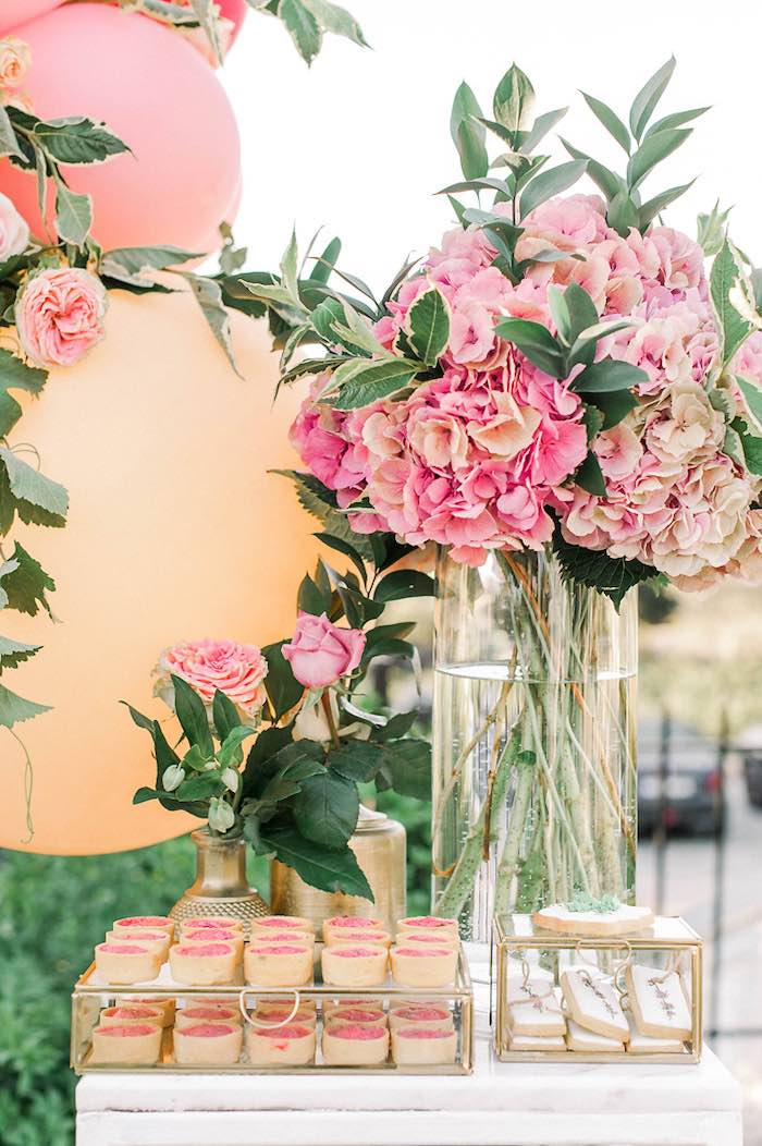 Floral Themed Sweet Table from an Elegant Floral Baptism Party on Kara's Party Ideas | KarasPartyIdeas.com (19)