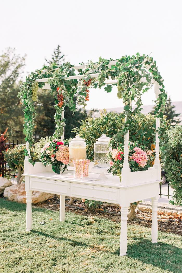 Floral-covered Beverage Table from an Elegant Floral Baptism Party on Kara's Party Ideas | KarasPartyIdeas.com (37)