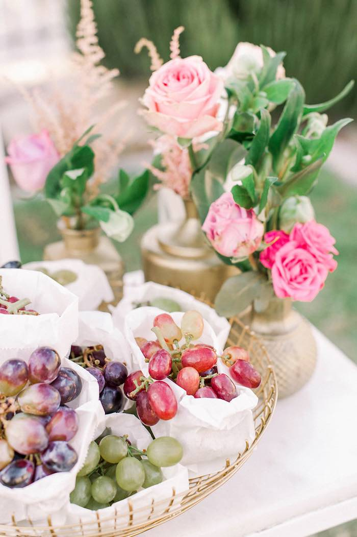 Grape-filled Snack Sacks from an Elegant Floral Baptism Party on Kara's Party Ideas | KarasPartyIdeas.com (18)