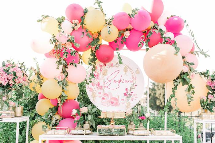 Floral Themed Dessert Table from an Elegant Floral Baptism Party on Kara's Party Ideas | KarasPartyIdeas.com (17)