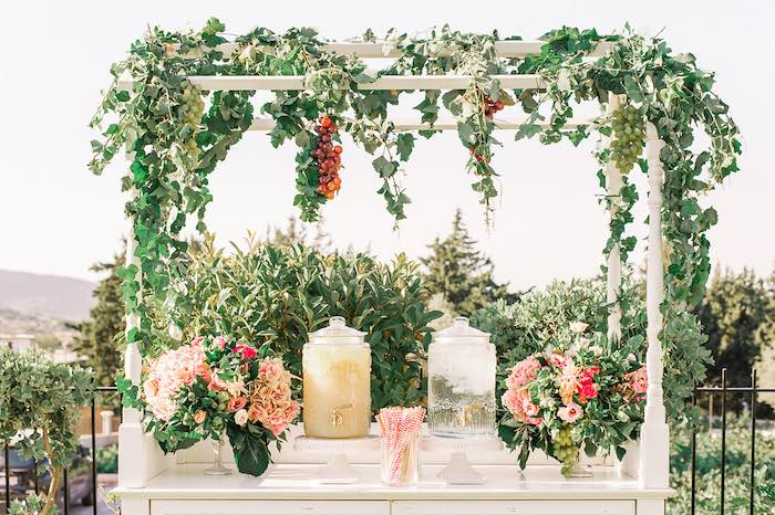 Floral-covered Beverage Table from an Elegant Floral Baptism Party on Kara's Party Ideas | KarasPartyIdeas.com (36)