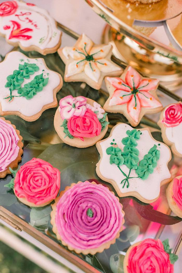 Flower Cookies from an Elegant Floral Baptism Party on Kara's Party Ideas | KarasPartyIdeas.com (8)