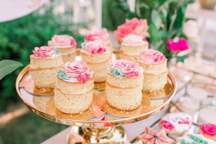 Mini Stacked Cakes from an Elegant Floral Baptism Party on Kara's Party Ideas | KarasPartyIdeas.com (7)
