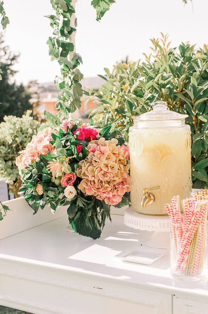 Beverage Table from an Elegant Floral Baptism Party on Kara's Party Ideas | KarasPartyIdeas.com (35)