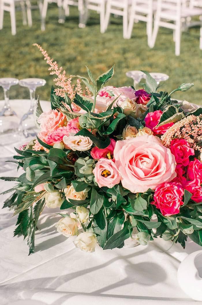 Pink Floral Arrangement from an Elegant Floral Baptism Party on Kara's Party Ideas | KarasPartyIdeas.com (33)