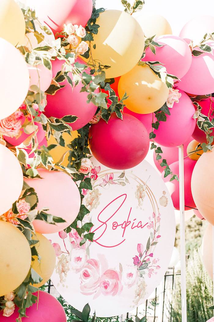 Floral-inspired Balloon Garland Backdrop from an Elegant Floral Baptism Party on Kara's Party Ideas | KarasPartyIdeas.com (30)