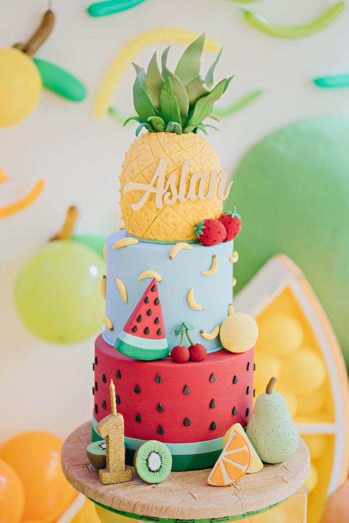 Fruit Themed Cake Feelin' Fruity Birthday Party on Kara's Party Ideas | KarasPartyIdeas.com (9)