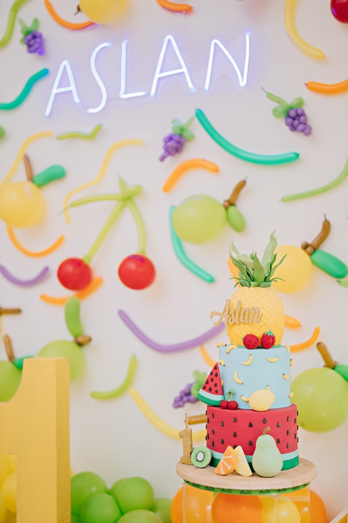 Fruit Themed Cake + Backdrop from a Feelin' Fruity Birthday Party on Kara's Party Ideas | KarasPartyIdeas.com (8)