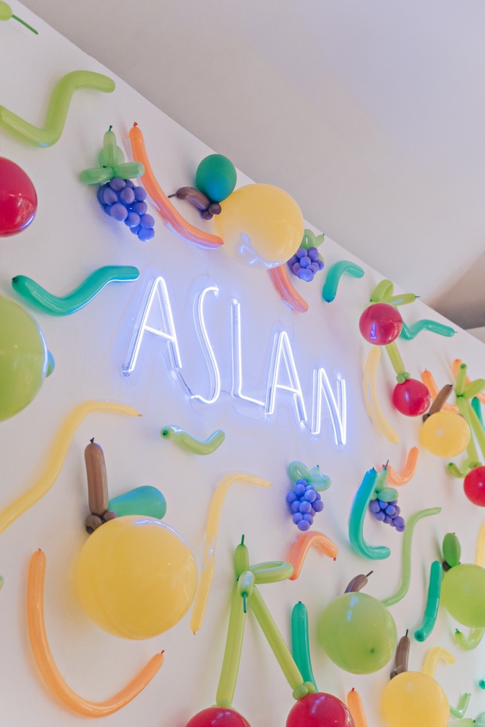 Neon Name Sign + Fruit-inspired Balloon Backdrop from a Feelin' Fruity Birthday Party on Kara's Party Ideas | KarasPartyIdeas.com (15)