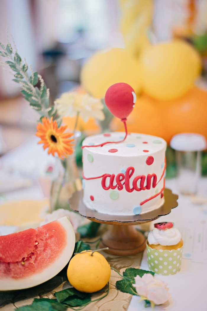Mini Polka Dot Cake from a Feelin' Fruity Birthday Party on Kara's Party Ideas | KarasPartyIdeas.com (11)