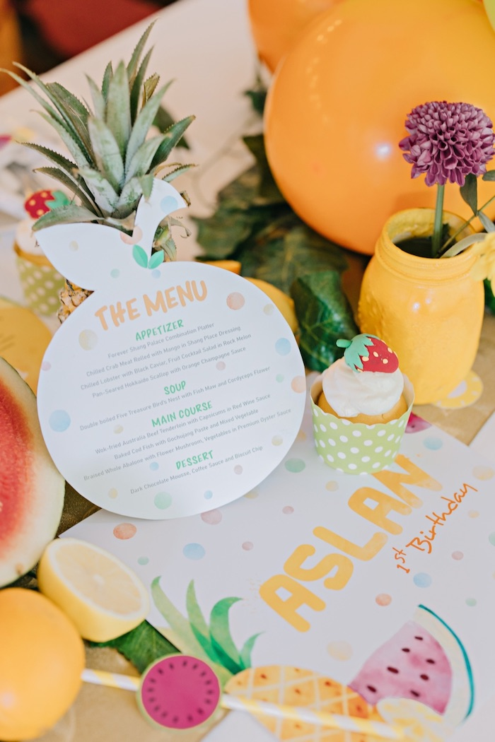 Fruit Shape Menu Card from a Feelin' Fruity Birthday Party on Kara's Party Ideas | KarasPartyIdeas.com (10)