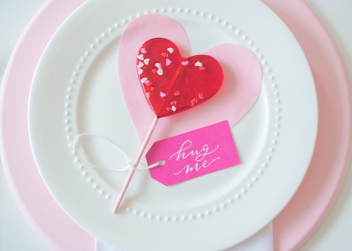 Valentine's Day - Heart Lollipop Table Setting from a Flower Shop Valentine's Day Party on Kara's Party Ideas | KarasPartyIdeas.com (24)