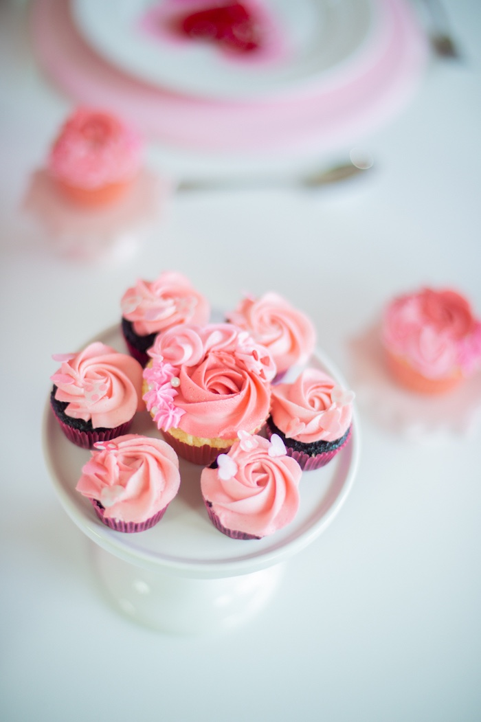 Valentine's Day Cupcakes from a Flower Shop Valentine's Day Party on Kara's Party Ideas | KarasPartyIdeas.com (22)