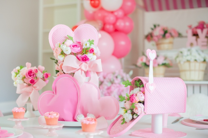 Floral Themed Valentine's Day Guest Table from a Flower Shop Valentine's Day Party on Kara's Party Ideas | KarasPartyIdeas.com (20)