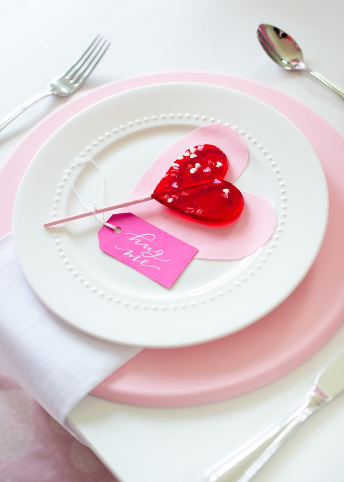 Valentine's Day - Heart Lollipop Table Setting from a Flower Shop Valentine's Day Party on Kara's Party Ideas | KarasPartyIdeas.com (15)