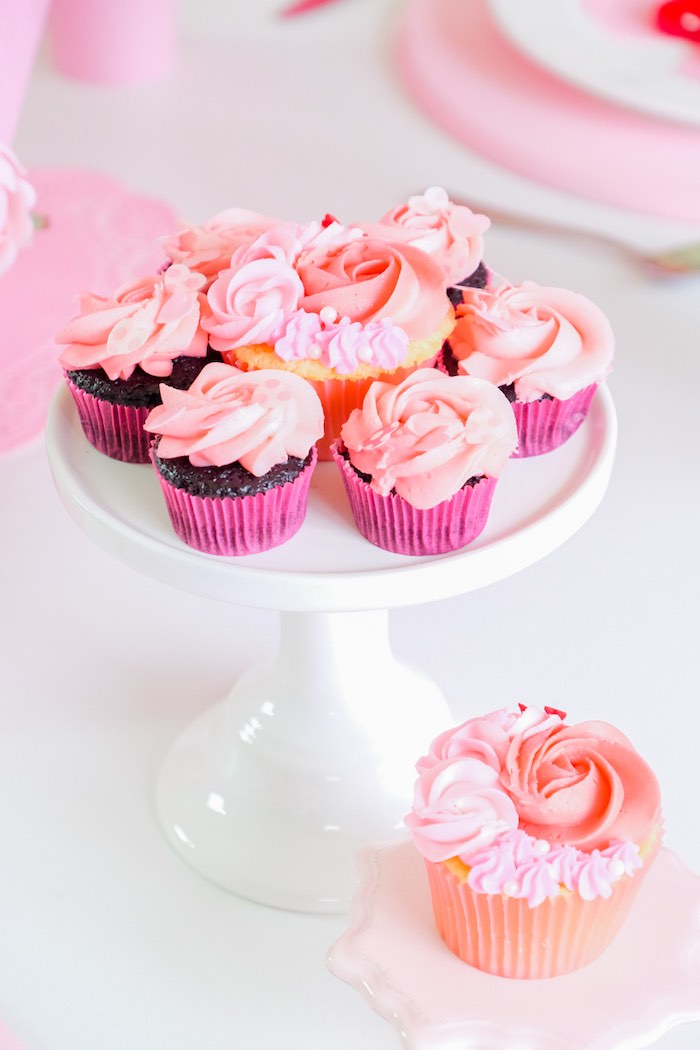 Valentine's Day Cupcakes from a Flower Shop Valentine's Day Party on Kara's Party Ideas | KarasPartyIdeas.com (10)