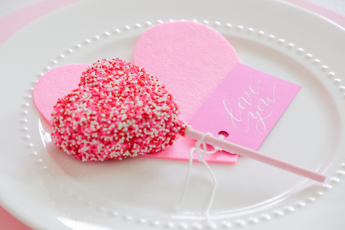 Valentine's Day - Heart Pop Table Setting from a Flower Shop Valentine's Day Party on Kara's Party Ideas | KarasPartyIdeas.com (8)