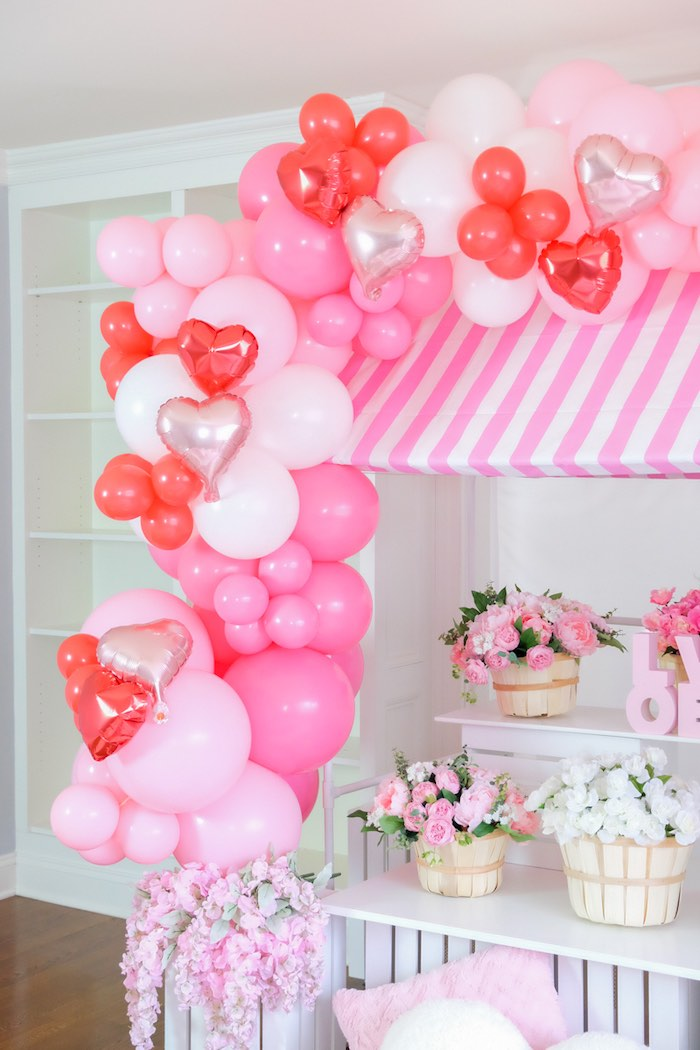 Valentine Balloon Garland from a Flower Shop Valentine's Day Party on Kara's Party Ideas | KarasPartyIdeas.com (7)