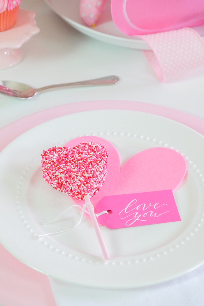 Heart Pop Table Setting from a Flower Shop Valentine's Day Party on Kara's Party Ideas | KarasPartyIdeas.com (26)