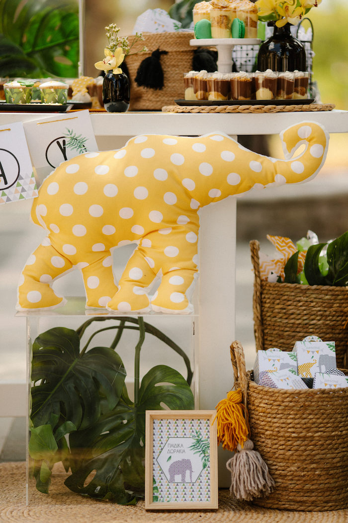 Plush Patterned Elephant from a Geometric Jungle Animal Christening on Kara's Party Ideas | KarasPartyIdeas.com (20)