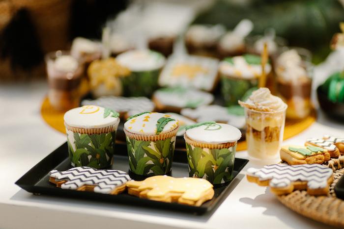 Jungle Animal Cookies + Cupcakes from a Geometric Jungle Animal Christening on Kara's Party Ideas | KarasPartyIdeas.com (19)