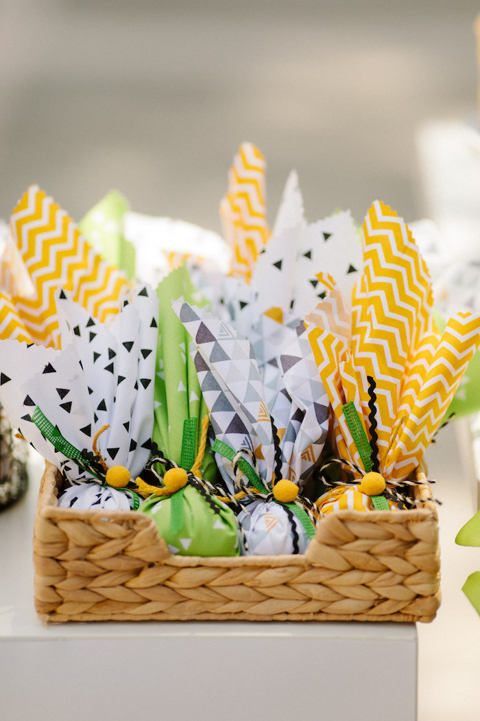 Basket of Favor Pouches from a Geometric Jungle Animal Christening on Kara's Party Ideas | KarasPartyIdeas.com (17)