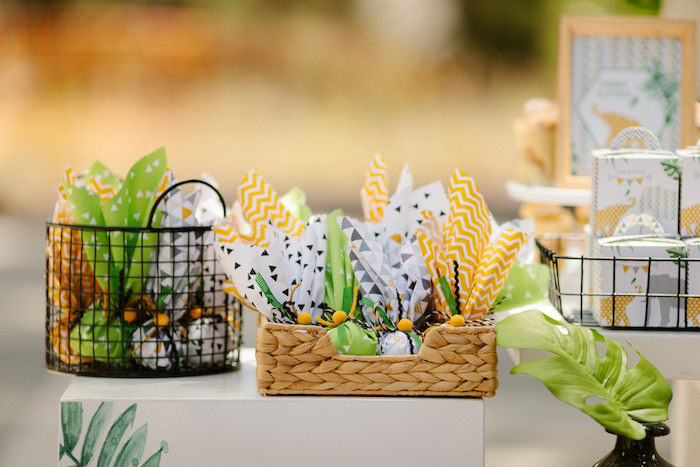 Baskets of Favor Pouches from a Geometric Jungle Animal Christening on Kara's Party Ideas | KarasPartyIdeas.com (16)
