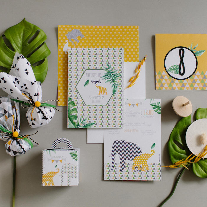 Jungle Party Stationery from a Geometric Jungle Animal Christening on Kara's Party Ideas | KarasPartyIdeas.com (30)