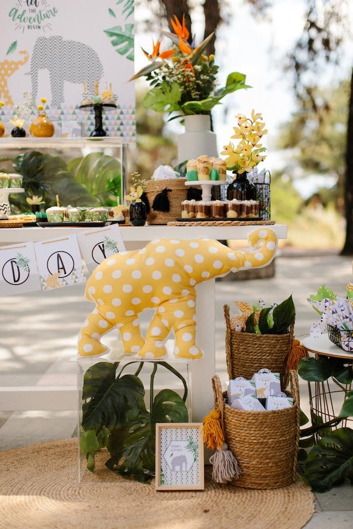 Plush Elephant + Jungle Animal Dessert Table from a Geometric Jungle Animal Christening on Kara's Party Ideas | KarasPartyIdeas.com (10)