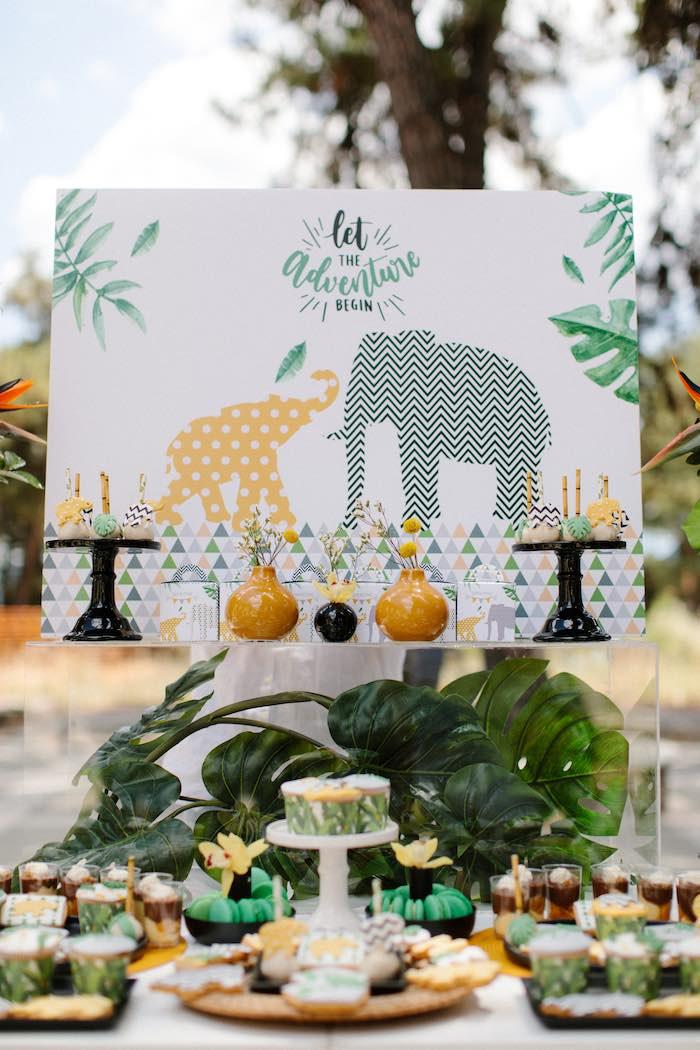 Jungle Animal Dessert Table from a Geometric Jungle Animal Christening on Kara's Party Ideas | KarasPartyIdeas.com (9)