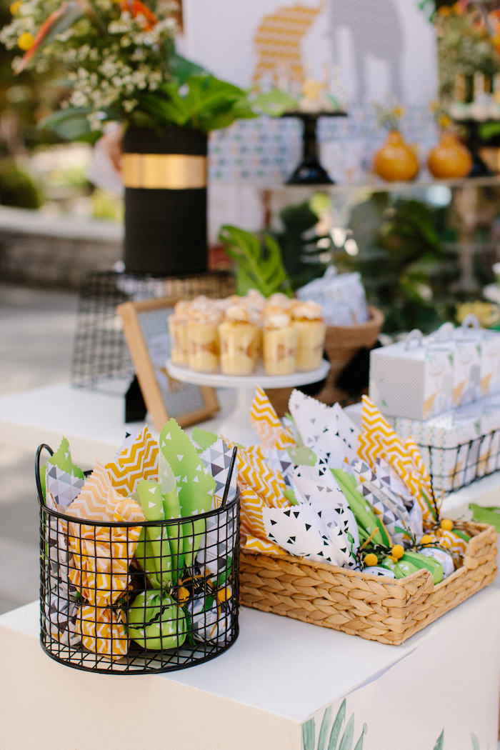 Favor Pouches from a Geometric Jungle Animal Christening on Kara's Party Ideas | KarasPartyIdeas.com (7)