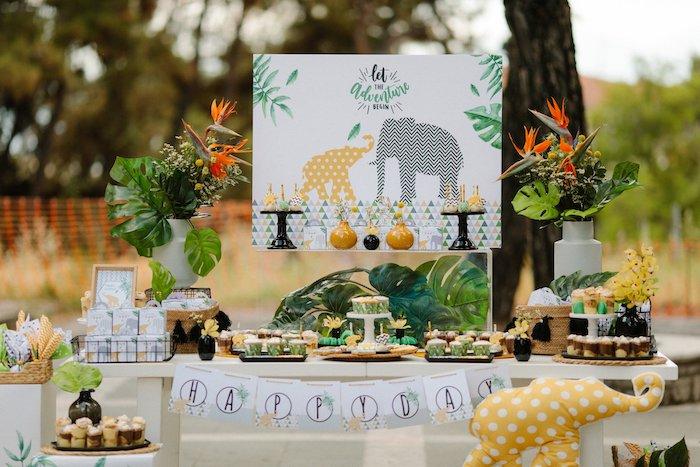 Jungle Animal Dessert Table from a Geometric Jungle Animal Christening on Kara's Party Ideas | KarasPartyIdeas.com (6)