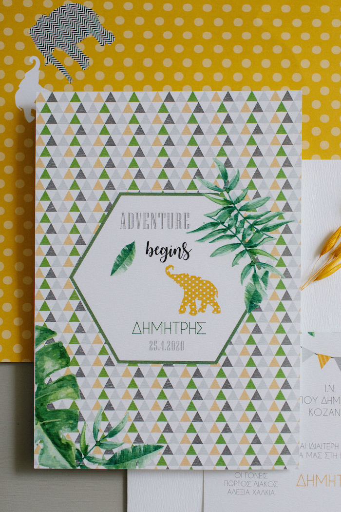 Adventure Begins Party Invite from a Geometric Jungle Animal Christening on Kara's Party Ideas | KarasPartyIdeas.com (29)