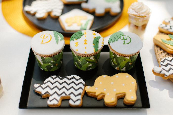 Jungle Animal Cookies + Cupcakes from a Geometric Jungle Animal Christening on Kara's Party Ideas | KarasPartyIdeas.com (27)