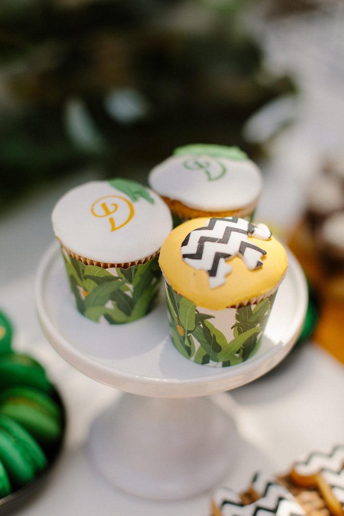 Jungle Animal Cupcakes from a Geometric Jungle Animal Christening on Kara's Party Ideas | KarasPartyIdeas.com (25)