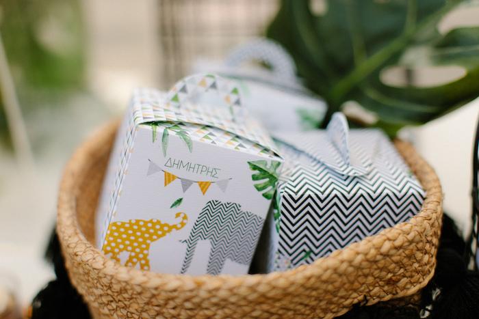 Jungle Elephant Favor Boxes from a Geometric Jungle Animal Christening on Kara's Party Ideas | KarasPartyIdeas.com (24)
