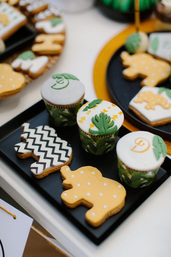 Jungle Animal Cookies + Cupcakes from a Geometric Jungle Animal Christening on Kara's Party Ideas | KarasPartyIdeas.com (23)