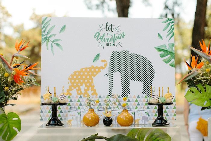 Jungle Elephant Backdrop + Dessert Table from a Geometric Jungle Animal Christening on Kara's Party Ideas | KarasPartyIdeas.com (22)